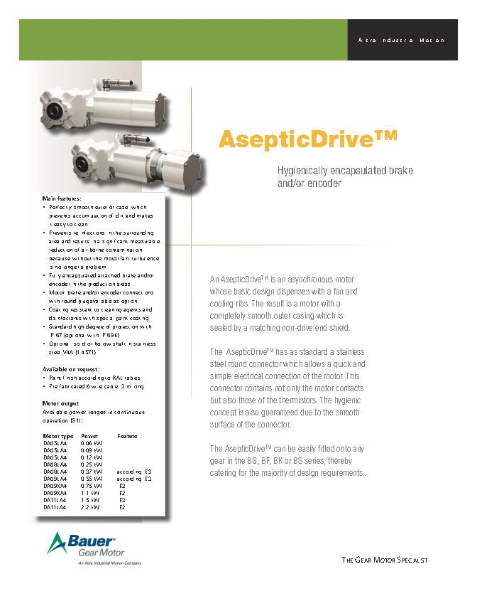 AsepticDriveTM Hygienically encapsulated brake and/or encoder