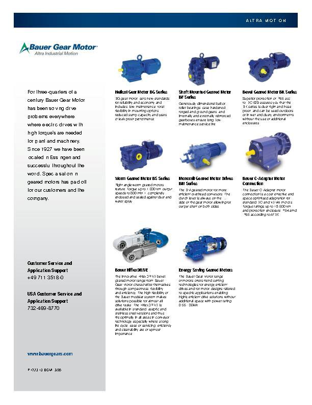 Bauer Gear Motor Product Line Card